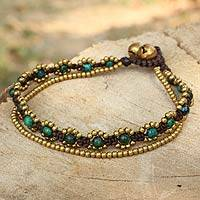 Serpentine beaded bracelet, 'Serene Forest' - Hand Knotted Beaded Bracelet with Serpentine and Brass Bells