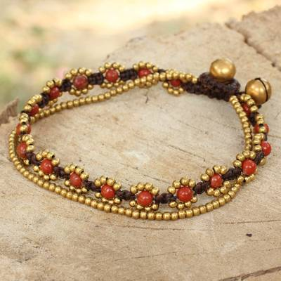 Jasper beaded bracelet, 'Fiery Sky' - Hand Knotted Beaded Bracelet with Jasper and Brass Bells