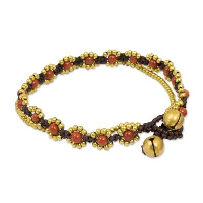 Hand Knotted Beaded Bracelet with Jasper and Brass Bells