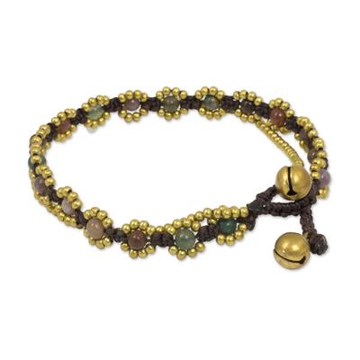 Jasper beaded bracelet, 'Festive Day' - Hand Knotted Jasper Beaded Bracelet with Brass Bell