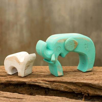 Wood sculpture, Aqua Elephant Family (pair)