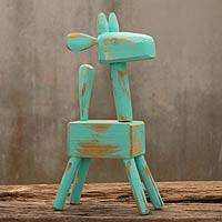 Wood sculpture, 'Green Giraffe' - Thai Naif Giraffe Hand Carved Wood Sculpture