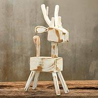 Wood sculpture, 'White Reindeer' - Thai Naif White Reindeer Wood Sculpture from Thailand