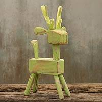 Wood sculpture, 'Green Reindeer' - Thai Naif Green Reindeer Wood Sculpture