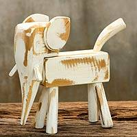 Wood sculpture, 'Thai White Elephant' - Naif White Wood Elephant Sculpture from Thailand