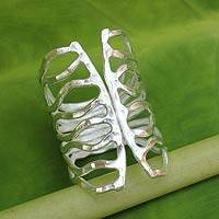 Sterling silver wrap ring, 'Monarch' - Thai Hammered Silver Wrap Ring