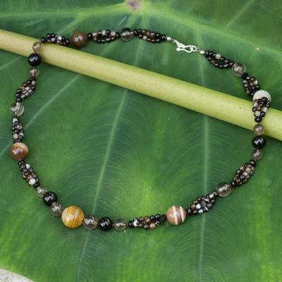 Smoky quartz and onyx beaded necklace, 'Essential Earth' - Hand Beaded Smoky Quartz Onyx and Agate Necklace