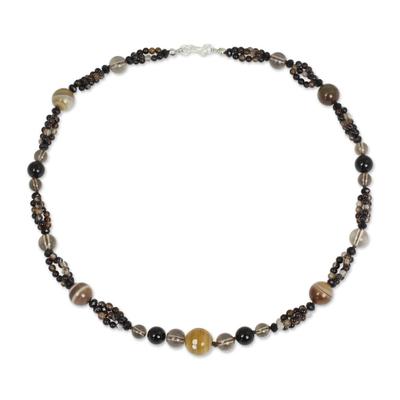 Hand Beaded Smoky Quartz Onyx and Agate Necklace