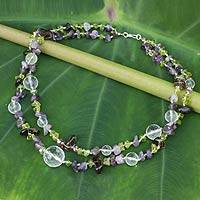 Amethyst and peridot beaded necklace, 'Lilac Garden'