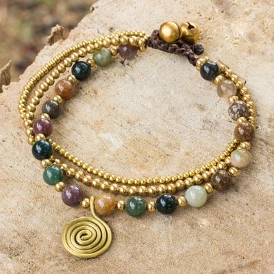 Jasper beaded bracelet, 'Harmonious Blend' - Thai Beaded Jasper and Brass Bracelet