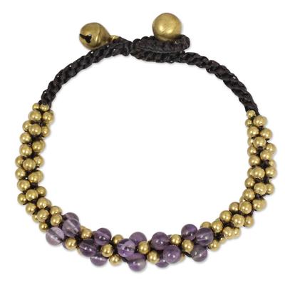 Handmade Beaded Amethyst and Brass Bracelet