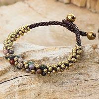 Jasper and brass beaded bracelet, 'Rainbow Helix' - Multicolor Jasper and Brass Beaded Bracelet