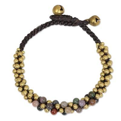 Jasper and brass beaded bracelet, 'Rainbow Helix' - Multicolor Jasper and Brass Beaded Bracelet