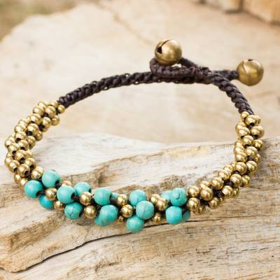 Calcite and brass beaded bracelet, 'Aqua Helix' - Turquoise coloured Thai Beaded Bracelet with Brass
