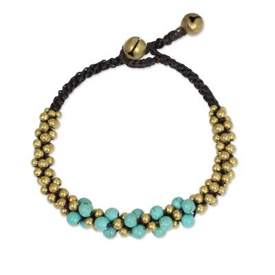 Turquoise Colored Thai Beaded Bracelet with Brass