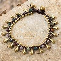Jasper and brass beaded bracelet, 'Summer's Charm'