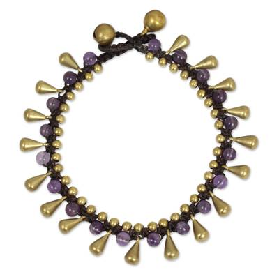 Thai Beaded Bracelet with Amethyst and Brass