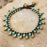 Calcite and brass beaded bracelet, 'Summer's Charm' - Blue Calcite and Brass Beaded Bracelet from Thailand