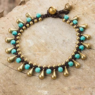 Calcite and brass beaded bracelet, 'Summer's Charm' - Blue Calcite and Brass Beaded Bracelet from Thailand