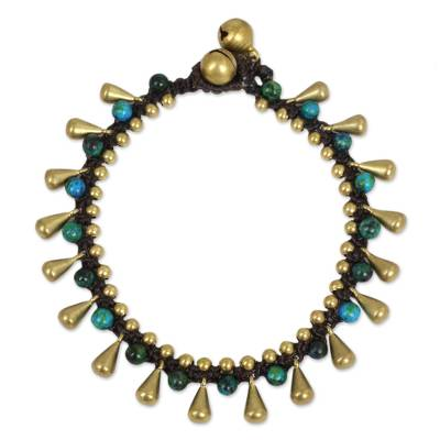 Serpentine beaded bracelet, 'Summer's Charm' - Handcrafted Serpentine and Brass Bracelet from Thailand