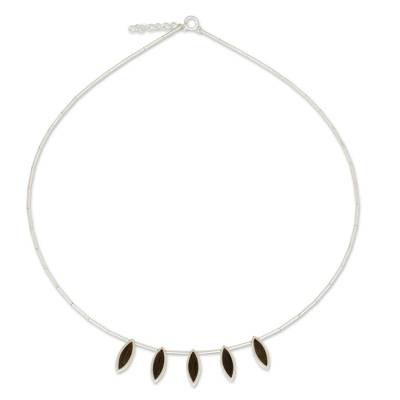 Sterling silver and wood pendant necklace, 'Elegant Minimalism' - Thai Sterling Silver Necklace with Dark Wood Insets