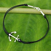 Leather pendant bracelet, 'Anchor of Hope' - Sterling Silver and Leather Charm Bracelet