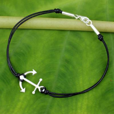 Leather pendant bracelet, 'Anchor of Hope' - Thai Sterling Silver and Black Leather Bracelet