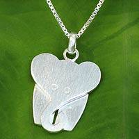 Sterling silver pendant necklace, 'Loyal Elephant'