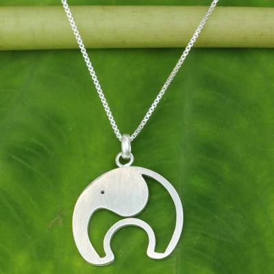 Sterling silver pendant necklace, 'Elephant on the Moon' - Artisan Crafted Sterling Silver Elephant Pendant Necklace