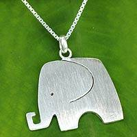 Sterling silver pendant necklace, 'Elephant Jazz' - Sterling Silver Fair Trade Elephant Pendant Necklace