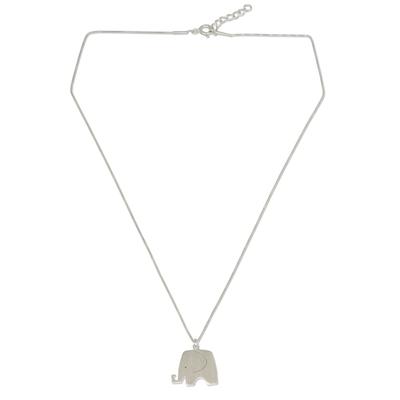 Sterling silver pendant necklace, 'Elephant Jazz' - Sterling Silver Fair Trade Elephant Pendant Necklace