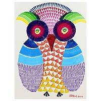'Mystical Owl' - Colorful Owl Naif Painting from Thailand