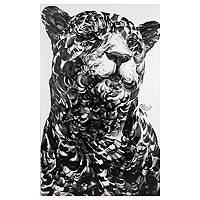 'The Leopard' - Monochrome Signed Portrait Painting