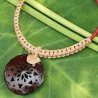 Leather and coconut shell flower necklace, 'Naturally Thai in Tan' - Handmade Leather Necklace with Coconut Shell Flower Pendant