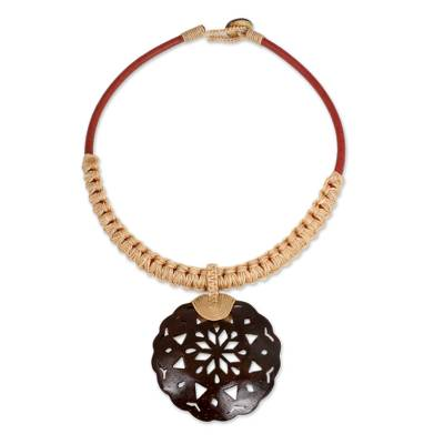 Handmade Leather Necklace with Coconut Shell Flower Pendant