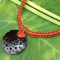 Leather and coconut shell flower necklace, 'Naturally Thai in Brown' - Thai Leather Necklace with Coconut Shell Flower Pendant