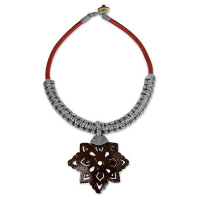 Fair Trade Leather Necklace Coconut Shell Flower Pendant