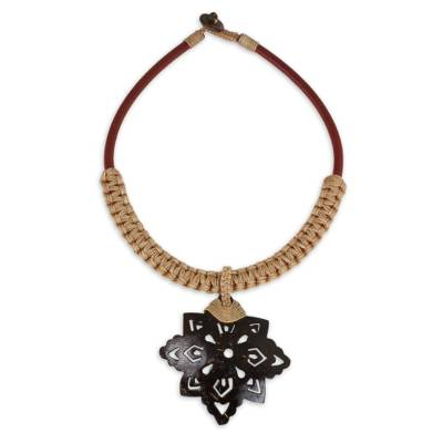 Thai Leather Necklace with Coconut Shell Flower Pendant