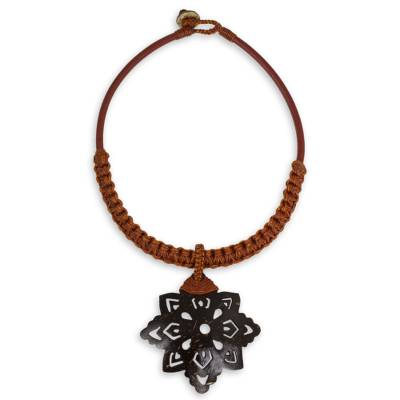 Hand Made Leather Necklace with Coconut Shell Pendant