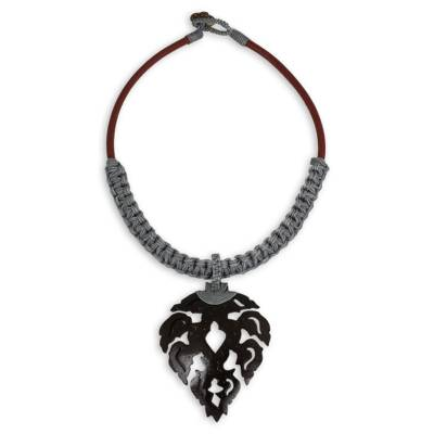 Fair Trade Leather Necklace with Leaf Shape Pendant