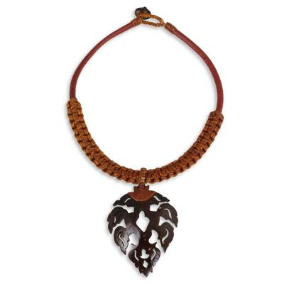 Artisan Crafted Leaf Shape Coconut and Leather Necklace