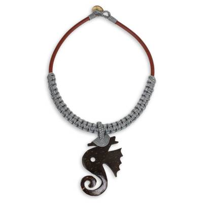 Fair Trade Leather and Coconut Shell Thai Necklace