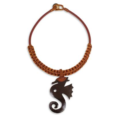 Artisan Crafted Coconut Shell and Leather Necklace