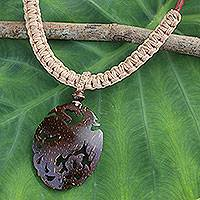 Coconut shell pendant necklace, 'Thai Phoenix in Light Tan' - Hand Carved Coconut Shell Pendant on Leather Necklace