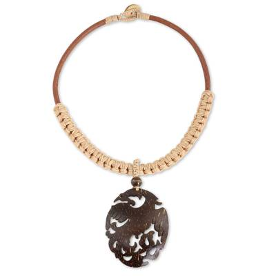 Hand Carved Coconut Shell Pendant on Leather Necklace