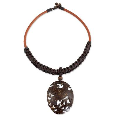 Hand Crafted Carved Coconut Shell Phoenix Pendant Necklace