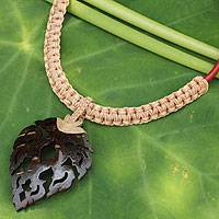 Leather and coconut shell flower necklace, 'Fire Leaf in Tan' - Thai Leaf Shape Coconut Shell and Leather Necklace