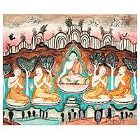 'The Doctrine' - Ancient Thai Temple Art Buddha Painting