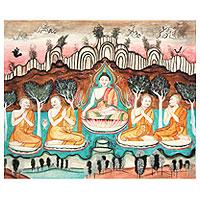 'The Doctrine' - Ancient Thai Temple Art Buddha Painting