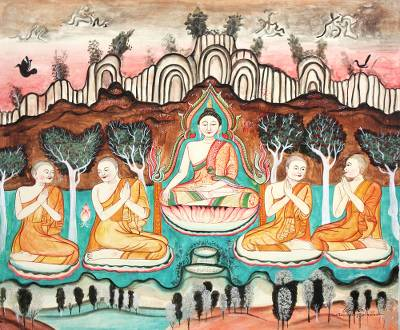 Ancient Thai Temple Art Buddha Painting